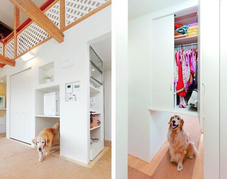 【画像6】収納ユニットの下をトンネルのようにして、愛犬の居場所&通路に。上は空気清浄機置き場やワンちゃんグッズの収納に(写真提供/ワンオンワン)