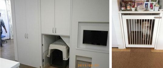 【画像7】居場所スペースはケージが入る大きさにつくるのがポイント。扉を閉めたり、ケージに入っても安心して待てるトレーニングの場にもなる(写真提供/池田千夏子さん)
