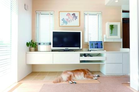 【画像9】消臭調湿タイルが敷かれたスペースで、スヤスヤ眠る愛犬(写真提供/ワンオンワン)