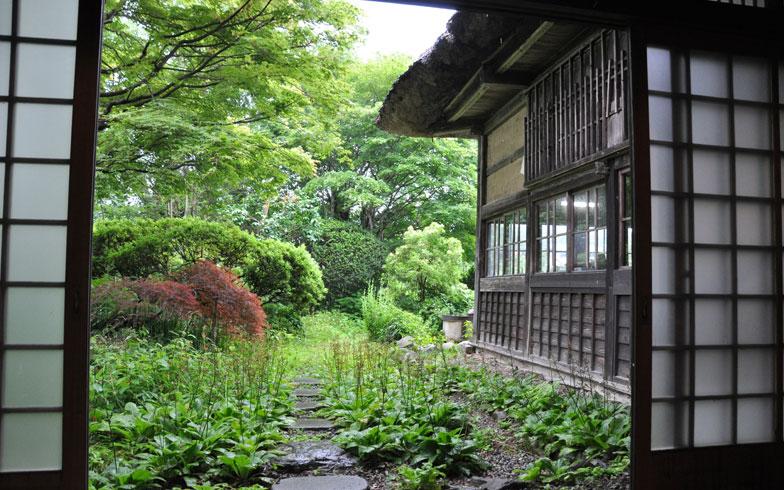 【画像6】玄関から庭を望む。九輪草が咲き、ツツジが彩りを見せる5月初旬がいちばんキレイだそう。一方で雑草が生えるため、庭の手入れもひと苦労だ(写真撮影/嘉屋恭子)