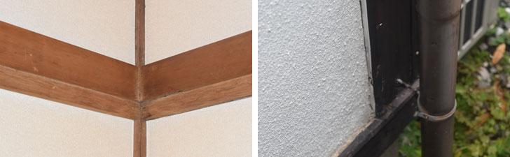 【画像2】左/柱や梁に虫喰いのような孔(あな)が……。右/20年前に塗装した外壁に隙間が空き、そこから雨がしみ込んでいたようです(撮影/SUUMOジャーナル編集部)