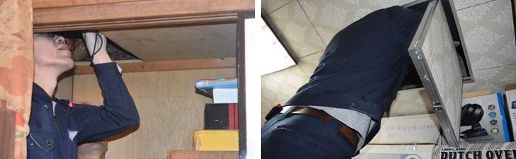 【画像3】左/2階押入れの天井板を外して、天井裏を確認。ここでは筋交い(すじかい:柱と柱の間に斜めに入れて建築物や足場を補強する部材)の位置が図面通りになっているか、金物(くぎや接合金属)の施工がどうなっているか、雨漏りやシロアリの被害がないかを確認。右/同じく2階の天井裏をチェック(撮影/SUUMOジャーナル編集部)