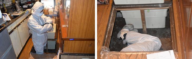 【画像8】1階キッチンの床下収納庫部分から、床下点検。基礎と土台など木部の劣化具合を見て、筋交いが図面通りかも確認(撮影/SUUMOジャーナル編集部)