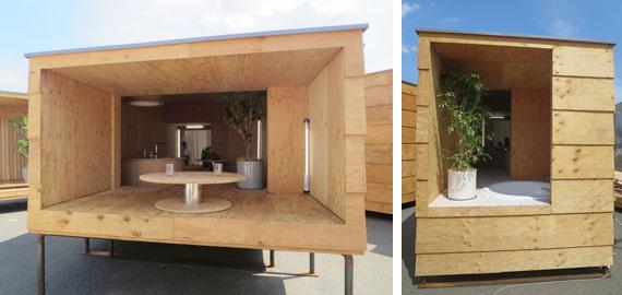 【画像8】左:キッチン&ダイニングには、ご近所さんが立ち寄りたくなる縁側風テラス。右:バスルームには、内湯+露天風呂(写真撮影/藤井繁子)