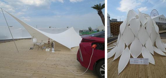 【画像15】車とテントがあれば、住空間がどこにでも生まれる。軽くて錆びない炭素繊維でつくった直径5mのテント(右)は、たたむと直径65�に!(写真撮影/藤井繁子)