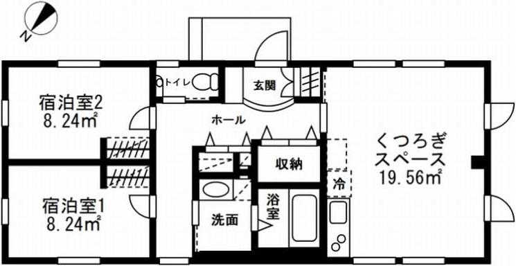 【画像1】2ベッドルーム+共用LDKのプラン。横長のユニット(スマートモデューロ本体)をつなげることで広さは約60m2になる(図面提供/アーキビジョン21)