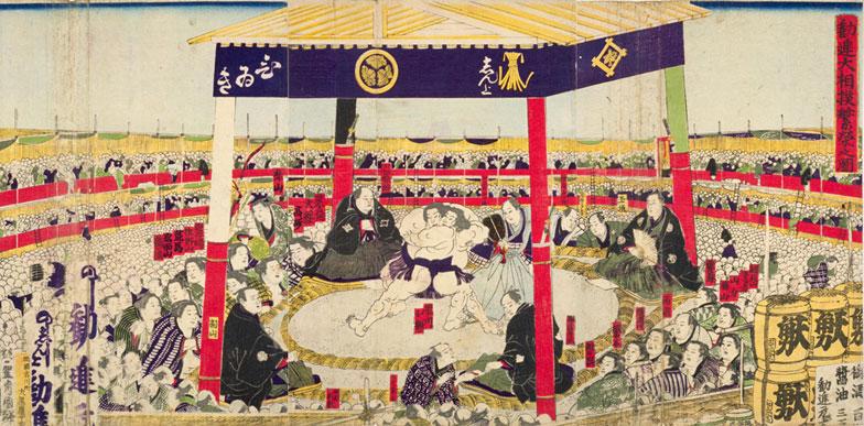 【画像2】「勧進大相撲繁栄之図」一曜斎国輝(画像提供/国立国会図書館ウェブサイト)