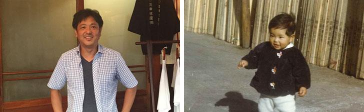 【画像1】左:三幸林産三代目社長の馬田さん。会社が設立されたのは1950年だが、木材問屋としての歴史は、それよりも遥か前から続いている(写真撮影/SUUMOジャーナル編集部) 右:1969年ごろ、木材置き場の前で遊ぶ当時2歳の馬田さん(写真提供/三幸林産)