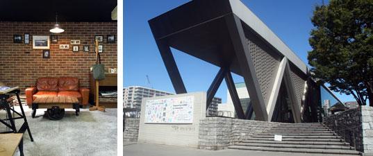 【画像5】左:店内のカフェコーナー。雑誌やインターネットなどでも紹介されているせいか、アジア圏などから外国人観光客もやってくる/右:1995年、白河で開館した東京都現代美術館(略称「MOT」)。MOTに牽引される形で、このエリアにはアートギャラリーなども増えている(写真撮影/日笠由紀)