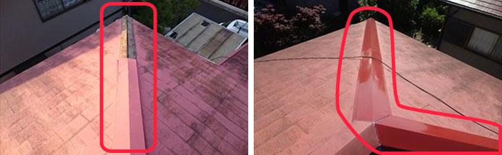 【画像5】施工例:棟板金が2mほど剥がれて落下したため点検。ひどく傷んでいた貫板と板金を交換ししっかり固定(写真提供/街の屋根やさん)