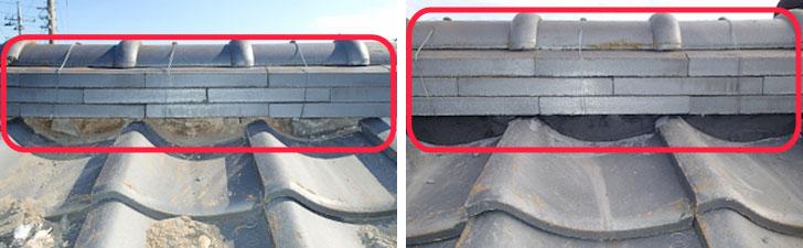 【画像6】施工例:ボロボロになった漆喰を剥がして、しっかり詰め直した様子(写真提供/街の屋根やさん)