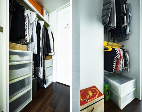 【画像12】ウォークインクローゼットにはオンシーズンの衣類だけを収納。保管サービス付きの宅配クリーニングを活用することで、オフシーズンの衣類や寝具の収納スペースを節約しています(写真撮影/片山貴博)