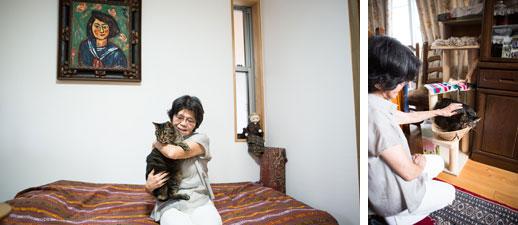 【画像6】猫ちゃんもママとお引越しできて幸せ!。右のキャットタワーは藤井さんがつくってくれたもの(写真撮影/片山貴博)