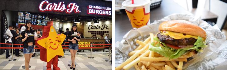 【画像7】左:神奈川県初出店の「Carl's Jr.」は国内2号店目となるため注目度高め。右:トラディショナルメニューとして人気の「オリジナルシックバーガー(パテサイズ1 / 2)」とフレンチフライ&ドリンクのセット。上質なアンガス牛のパティはとってもジューシーで食べごたえバツグン!(写真撮影/末吉陽子)