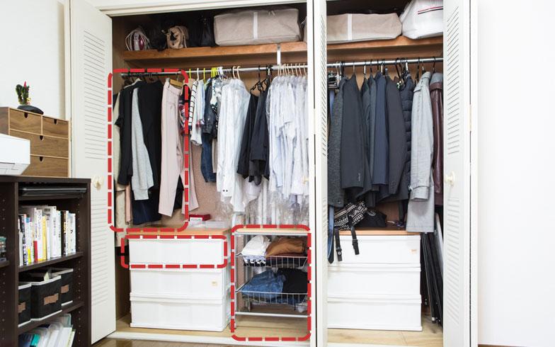【図2】エミさんの服は赤枠内だけ。「夫や息子の方が衣装持ちです(笑)。見ていると断捨離したくなりますが、人の物には手を出さないようにしています」(写真撮影/片山貴博)