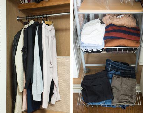 【図3】エミさんの服だけを見ると、こんなに少ない!「何があるのか、一目ですぐ分かるようにしています」(写真撮影/片山貴博)