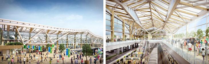 【画像2】大きなガラス面が新駅舎の特徴。「えき」から「まち」を見通すことができる(画像提供/JR東日本)