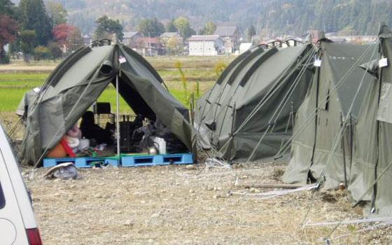 【画像8】新潟県中越大震災時にできたペット飼育者専用のテント村避難所(写真提供/アナイス)