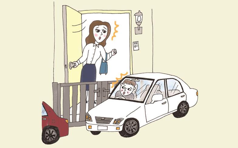 【画像5】玄関の目の前に道路が……(イラスト/そで山かほ子)