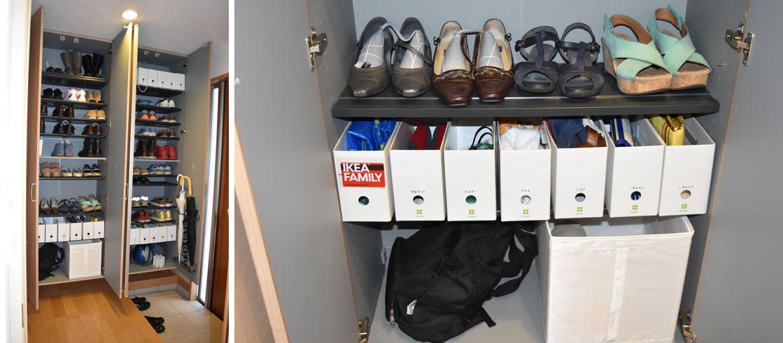 【画像2】シューズクローゼットは、物別に分けてボックスに収納。誰でも中身がわかるよう、箱にラベルを貼りました(写真撮影/SUUMOジャーナル編集部)