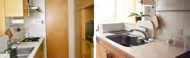 【画像4】[Before]キッチンは手元が暗く、また調理スペースが十分ではなく、使いにくかったそう(写真提供/Oさん)