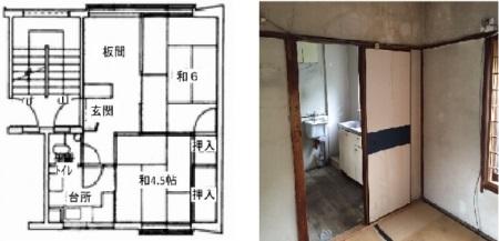 間取り図と室内写真。画像:大阪府住宅供給公社