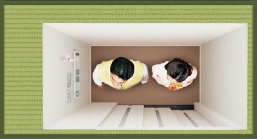 【画像5】タタミ1畳とは、182㎝×91㎝のスペース(緑色部分)内に収まる大きさ。エレベーターもコンパクトになった(写真提供/パナソニック)