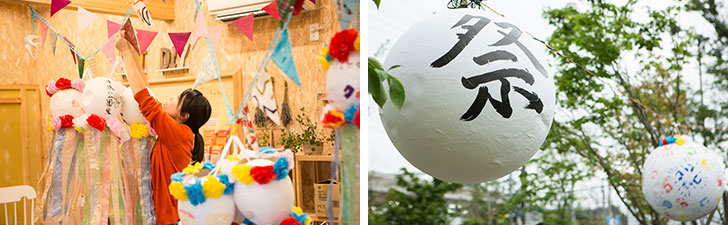 【画像3】七夕飾りなどの準備は「ソライエひろば」内にある公共の作業場「ものづくりの工房」で行われた(写真撮影/片山貴博)