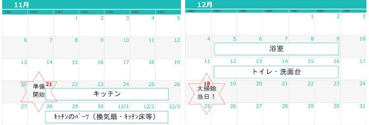 【画像1】大掃除「メインの日」を12月の第3日曜日である12月18日に決め、そこから逆算して1カ月前(正確には4週間前)の11月21日から「ついで掃除」を始めるスケジュールとなっている。「大掃除」というと、もっと押し迫ってから始めるイメージがあるが、今年の暮れはゆったりと『紅白歌合戦』が見たいので、その意気込みで少々前倒しの日程を設定してみた(高橋さんの話をもとに筆者作成)