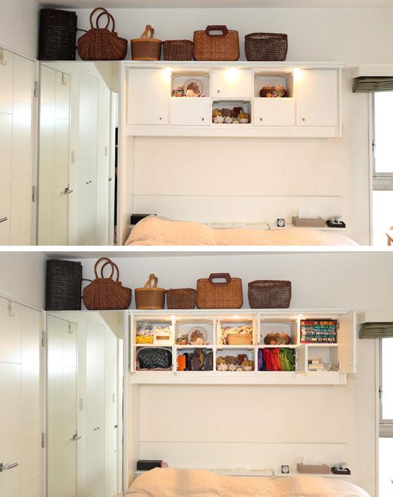 【画像4】備え付けのウォークインクローゼットの横にも造作家具を。扉1枚を全面鏡張りにすることで、空間が広く感じられる上、コーディネートの全身チェックもスムーズになりました(写真撮影/飯田照明)
