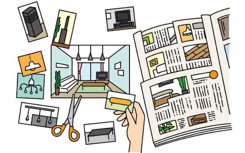 【画像1】真似したい部屋のイメージを決めることが大事。基調色や空間の雰囲気に合った家具・家電・照明を選べば統一性の取れた部屋になる(イラスト/サタケシュンスケ)