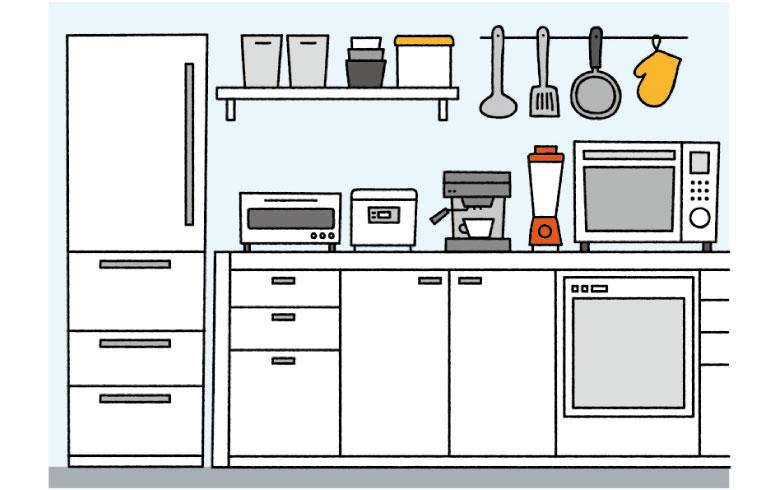 【画像2】存在感のある大きめの家具や家電は落ち着いた色で統一。小さな家電などに赤やオレンジといった差し色を入れると空間が映える(イラスト/サタケシュンスケ)