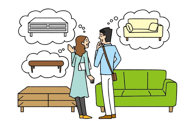 【画像5】家具や家電を同時期に購入すると、買い替えの時期が重なる場合もあるので、予算を決め、買う時期をずらすのも一つの手(イラスト/サタケシュンスケ)