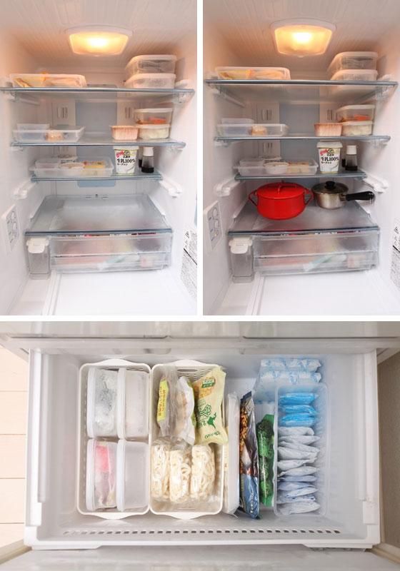 【画像3】大野さんが勧める「見える化」の実例。透明な容器に入れて、詰め込み過ぎないのがコツ。写真左上:冷蔵庫部分の最下段は、普段は空けておき、写真右上:おかずの残りなどすぐに食べるものが入る場所にしておく。広ければ鍋ごと入れることもできる。写真下:冷凍室は、仕切りのカゴやブックエンドなどを利用し、立てて収納。野菜室なども同様に「立てて収納」すればどの食材もよく見える(撮影/河村正和 提供/竹書房『冷蔵庫さえ片づければ、なにもかもうまくいく』)