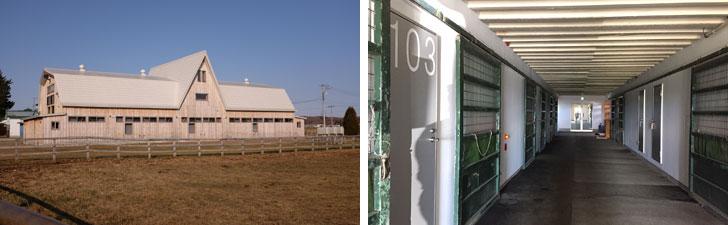 【画像2】左:わたしが宿泊したコンファレンス・センター(写真撮影/來嶋路子) 右:回廊には緑色のゲージが残されていた。一般の宿泊施設とはまったく異なる様相が新鮮!(写真撮影/SUUMOジャーナル編集部)