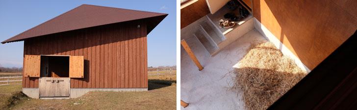 【画像5】左:BARN HOUSEの外観。扉は上下に分かれており、上だけ開けると馬がそこから顔を出せるしくみになっている。右:内部は多くの部分がガラス張りで、馬を眺めることができる(写真撮影/來嶋路子)