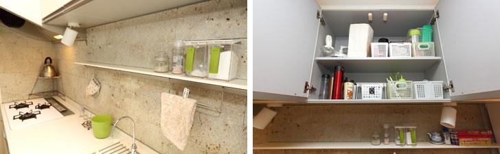 【画像3】左:よく使うものは容器や置き場所に配慮しつつ出しっ放しOK。塩・胡椒、ゴミ箱、タオルなどはすぐに使えるこの状態。右:シンク上の棚には塩・胡椒、しょうゆ、ラップなどが並ぶ。これ以外の調味料などは、シンク上の扉付きの棚にカゴにまとめて入れ、必要に応じてカゴごと出して、使って、カゴごと戻す(写真撮影/飯田照明)