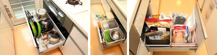 【画像4】コンロの下には調理用品(左)、シンクの下には水まわり用品(中)、シンク下の引き出しには乾物や粉ものなど、使う場所に同じものをまとめて収納。バラバラになりがちな細かい物も、カゴや紙袋にまとめると見た目は雑然としていても出し入れしやすい(写真撮影/飯田照明)