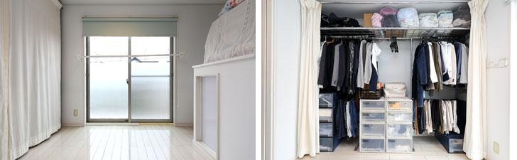 【画像1】左:小関さんの寝室は2階。左手には布で仕切られた収納スペースで、布団は毎朝畳んで右の収納スペースの上に重ねる。来客時は白い布でカバーすれば生活感が出ずスッキリ。右:布で仕切られた収納スペースを開けると、普段使う衣類やバッグなどが整然と並ぶ。向かって左が夫、右が小関さんそれぞれのスペース。上の段にはビニール袋に入れて圧縮したオフシーズンの衣類や掛け布団などが並ぶ(写真撮影/飯田照明)