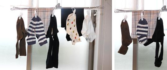 【画像3】左:洗濯物を干す際には、乾きやすさと取り込みやすさを考えて、靴下はペアでつま先を「ハの字」になるように洗濯ばさみで止める。右:干した状態のまま、足首をクルリと折り返してペアが無くならないようにしておき、後はどんどん畳みながら取り込んでいく(写真撮影/飯田照明)