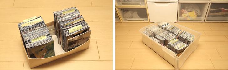 【画像6】左:ネガは処分して、プリント写真のみをイベントや年代別に付箋などを利用した目印を付けてティッシュの空き箱に。手が入るスペースも残るちょうどいいサイズだ。右:プラスティックケースの引き出しひとつに空き箱に分類されたプリント写真をまとめて収納(写真撮影/飯田照明)