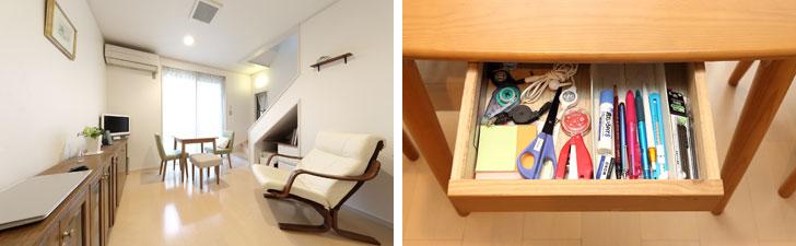 【画像1】左:無駄なものがなくスッキリした家族のフリースペース。左手に収納棚、窓際のテーブルは食卓にもワークスペースにもなる。右:テーブルの引き出しには家族がよく使うボールペン、はさみ、のり、ホッチキス、消しゴム、など厳選された文房具一式がまとめられている。ストックの文房具は、ボールペン、スティックのりなどそれぞれまとめて輪ゴムでしっかりまとめて別の引き出しに入れ、なくなったらストックから補充(写真撮影/飯田照明)