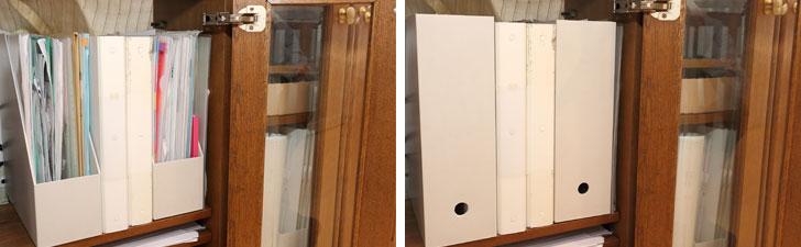 【画像3】左:普段はクリアファイルにワンアクションで出し入れできる方向に置く。右:来客時などは収納扉の中のファイルボックスの向きを反対にして背が見えるようにすると、細々したものが目に入らずスッキリ片付いて見える(写真撮影/飯田照明)