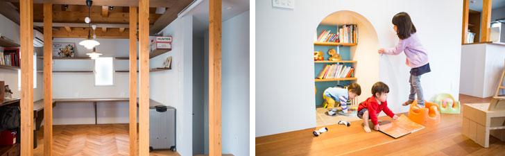 """【画像3】左:2階のワークスペース。ゆくゆくは、""""共同書斎""""にする予定/右:1階の階段下のスペースは、絵本やおもちゃの収納庫。アーチ形の入り口から出入りする(写真撮影/片山貴博)"""