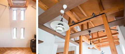 【画像4】左:2階の洋室は、将来、間仕切り壁を設けて個別にロフト付きのスペースが確保できるように、既存の窓を4つに分割/右:高さを出すために、天井板を取り払った。剥き出しになった部材には、すべて塗装を施している(写真撮影/片山貴博)