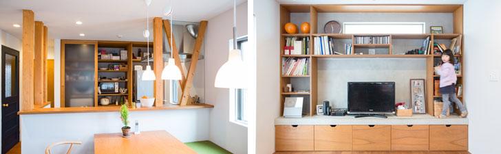 """【画像5】左:キッチンのカウンター左側は壁だったが、上部は中の柱のみを残して壁を撤去することで、開放感が生まれた。キッチン奥の壁面収納の左下の部分に洗濯機が収まっている/右:リビングの壁面収納。壁面やテレビが載っている台の表面はモルタルで仕上げてあり、Yさんのリクエストだった""""安藤忠雄っぽい空間""""となっている。双子の赤ちゃんが「歯がため」代わりにかじったおかげで、モルタルがところどころ剥げているのも、貴重な""""成長記録""""だ(写真撮影/片山貴博)"""