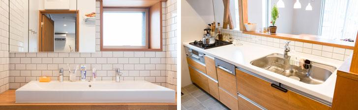 【画像6】上段左:洗面台をダブルシンクに変更し、朝の忙しい時間帯でも、並んで身支度ができるようにした/上段右:キッチンは既存のものを活かしつつ、面材を変えたり、立ち上がりをタイルにしたりと軽微な変更を行った(写真撮影/片山貴博)