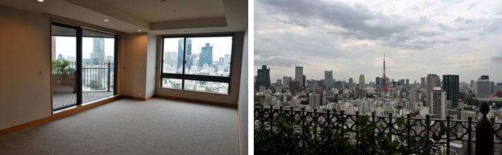【画像2】写真左/サブのベッドルーム。サブなのにうちのリビングより広くて心がざわつく 写真右/バルコニーからの眺望。ド正面に東京タワー、周囲に高層ビル群という「東京の宣材写真」みたいな景色が広がる(写真撮影:榎並紀行/やじろべえ)