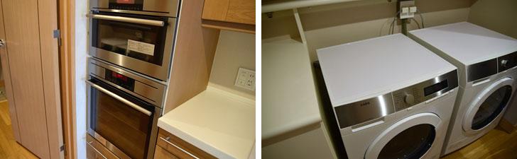 【画像5】写真左/業務用っぽいオーブン 写真右/備え付けの洗濯機はなぜか2台と頼もしい(写真撮影:榎並紀行/やじろべえ)