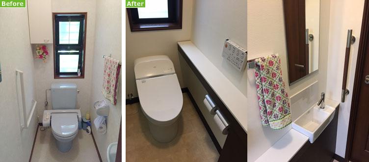 【画像1】左:リフォーム前のトイレ。調節できない水量と掃除しにくさが問題だった。右:リフォーム後:ポイントは節水機能と掃除のしやすさ(写真撮影/松村徹)